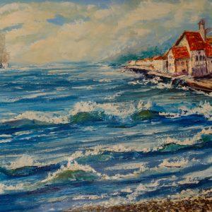 Морской пейзаж с деревушкой