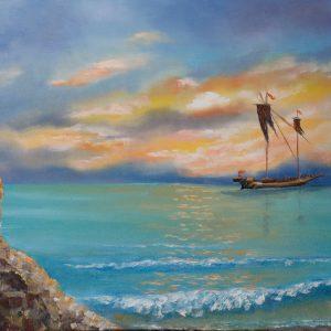 Морской пейзаж с маяком.